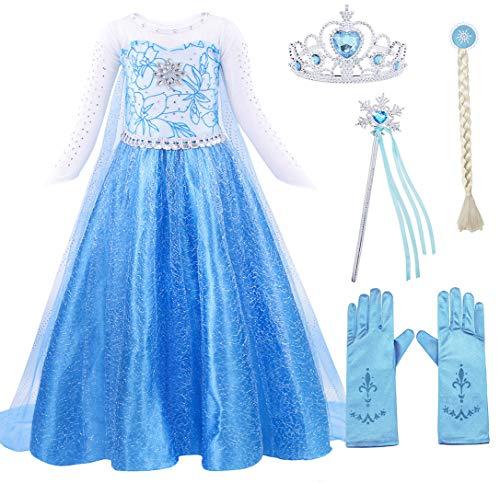 AmzBarley Disfraz Niña Princesa Reina de Nieve Elsa Vestido Niña Fiesta Capa Accesorios Cosplay Halloween Carnaval Cumpleaños Azul Oscuro 01 5-6 Años 120
