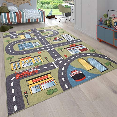 Paco Home Teppich Kinderzimmer Kinderteppich Spielteppich Straßen Und Auto Motiv Grün Grau, Grösse:120x160 cm