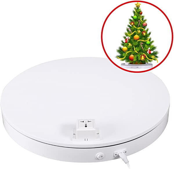 Fotoconic White Electric Motorized Rotating Turntable Display Stand With AC Power Outlet For Electrical Product Display 20 Inch 50cm Diameter 180 Pounds Loading