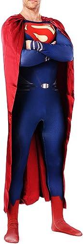 NDHSH Superman Cosplay Kostüm Halloween Unisex Zentai Jumpsuit Outfit Maskerade Weißnachten Party Performance Festival Geschenk,Blau-S