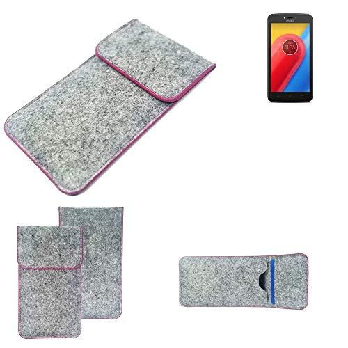 K-S-Trade Handy Schutz Hülle Für Lenovo Moto C LTE Schutzhülle Handyhülle Filztasche Pouch Tasche Hülle Sleeve Filzhülle Hellgrau Pinker Rand