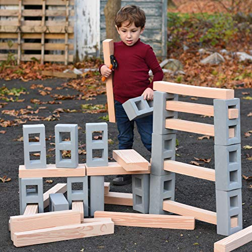 Playlearn Foam Building Blocks for Kids - 20 Pack - Jumbo Size (Not Life Size) Extra-Thick Cinder Block, Builders Set for Construction and Stacking