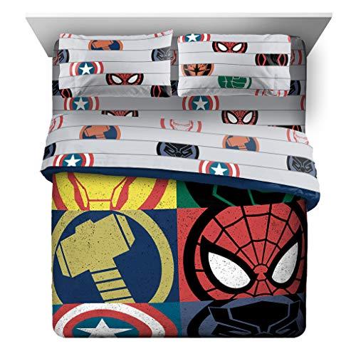 Jay Franco Marvel Avengers Emblems 7 Piece Queen Bed Set - Includes Comforter & Sheet Set Bedding - Super Soft Fade Resistant Microfiber (Official Marvel Product)