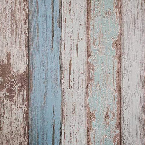 Arthome Papel Tapiz Autoadhesivo Grano de Madera Azul Contacto Papel Pintado del Vinilo Revestimiento Decorativo Mural Pegado Impermeable 3D Pared Para Casa...