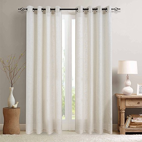 Linen Curtains for Living Room Solid Curtian Light Filtering Bedroom Dining Room Drapes Grommet Drapery Kitchen Ring Top Townhouse Farm House Window Treatment Curtains 84 inches 2 Panels Crude