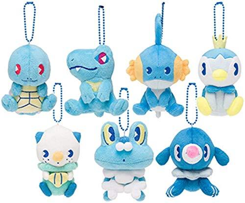 Adie 7style Pokemoned Tipo de Agua Squirtle Popplio Pelush Toy Toy 10cm, Mudkip Oshawott Piplup Totodile Froakie Peluche para niños Peluche