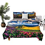 Silk Flower Arrangements DRAGON VINES 4pcs Bedding Set Pillowcase Silk Sheets Watercolor Style Pink Rhododendron Flowers and Mountain in Summer Student Dormitory Earth Yellow Pink and Blue W85 xL85