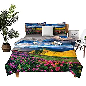 DRAGON VINES 4pcs Bedding Set Silk Sheets Pillowcase Watercolor Style Pink Rhododendron Flowers and Mountain in Summer Earth Yellow Pink and Blue Student Dormitory W85 xL85