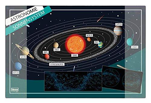 Idena 10449 - Schreibtischunterlage mit zwei Einstecktaschen, Sonnensystem, ca. 58,5 x 38,5 cm groß, praktisches Zubehör für Kinder-, Jugend- und Arbeitszimmer