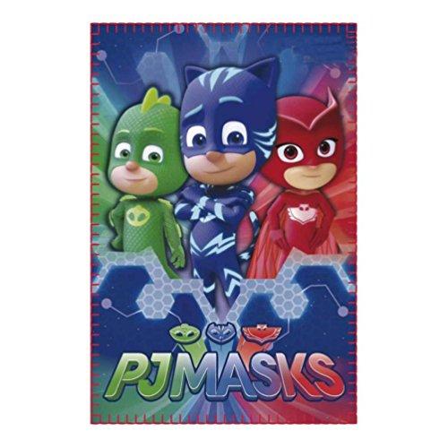 PJ Masks Héroes en Pijamas 2200002418, Manta Polar con Gatuno, Buhíta, Gecko, 150 Centímetros, Multicolor