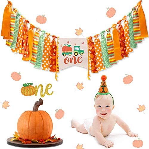 Little Pumpkin Cake Banner Set Cake Bunting /& Topper Set Pumpkin Boy Cake Topper Set Orange and Green