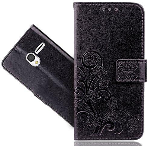 Alcatel Pixi 3 (4,5 inch) hoesje, FoneExpert® Premium lederen bloemenstandaard Flip portemonnee tas hoes voor Alcatel Pixi 3 (4,5 inch)