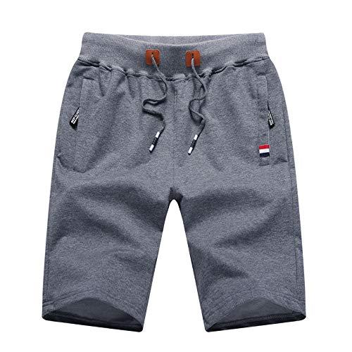 Pantalones Cortos de Cinco Puntos de Talla Grande de Verano para Hombre, Pantalones Cortos Deportivos Finos Informales a la Moda con Bolsillos con Cremallera en la Cintura elástica 35