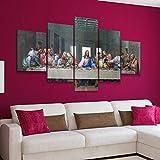 45Tdfc 5 Piezas Cuadro de Lienzo - Jesús la última Cena Pintura 5 Impresiones de imágenes Decoración de Pared para el hogar Pinturas y Carteles de Arte HD 200cmx100cm Sin Marco