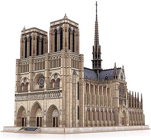 N\A ZT Regalo de Escala de Escala de la Iglesia gótica desafiante para Adultos Modelo de Arquitectura de Rompecabezas 3D con Estructura Interna (Color : Notre Dame De Paris)