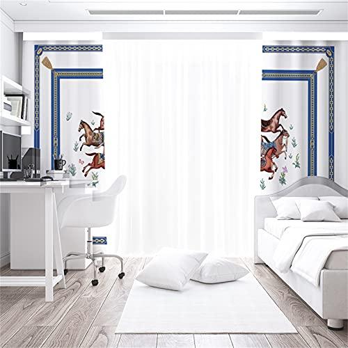 FACWAWF Cortinas De Patrón De Animales 3D para El Hogar Simple Sombreado Suave Anti-Ruido Anti-Ultravioleta Sala De Estar Dormitorio Balcón Cortinas Decorativas para Habitación De Niños 2xW110xH215cm