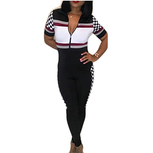 44c045547052 GAGA Women s Classic Short Sleeve Zip Up Checkered Hit Color Splicing Slim  Fit Long Jumpsuits