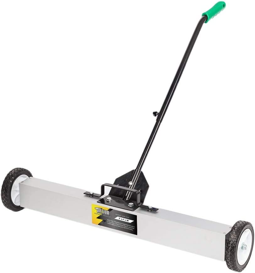 TUFFIOM 36-Inch Rolling Magnetic Pick-Up Sweeper | 30-LBS Capacity, with Quick Release Latch & Adjustable Long Handle, for Nails Needles Screws Collection - -