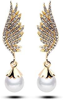 Wedding Simulated Pearl Angel Wing Pierced Earrings Clear Austrian Crystal DE069-2