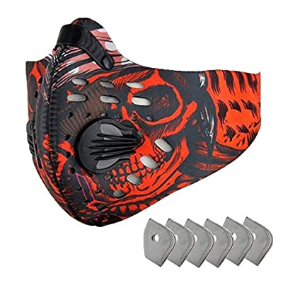 Outdoor Sports Half Face Mask with 6 Pcs Activated Carbon Filter Breathable Riding Mask Adjustable Windproof Dust Mask for Running Motorcycle Cycling Skiing, Red Pattern by ReachTop