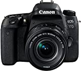 Canon EOS 77D DSLR Digitalkamera (24,2 Megapixel, 7,7 cm (3 Zoll) Display, APS-C CMOS Sensor, Full-HD) mit Objektiv EF-S 18-55mm F4-5,6 IS STM Objektiv schwarz