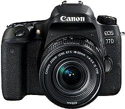 Canon EOS 77D DSLR Digitalkamera (24,2 Megapixel, 7,7 cm (3 Zoll) Display, APS-C CMOS Sensor, Full-HD) mit Objektiv EF-S 18-55mm F4-5,6 IS STM Objektiv schwarz