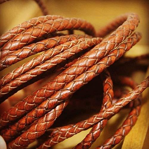 DINGM Pulsera de Cuero Genuino Trenzado marrón de 2 Metros, fornituras de 3/4/5/6 / 8mm, Cuerda Redonda de Cuero, Cuerda DIY, fabricación de Collar