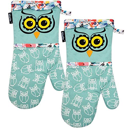 Alselo Oven Mitts, Heat Resistant with Soft Quilted Cotton Lining Set of 2, Fashion Animal Design with Silicone Printing Anti-Slip Kitchen Gloves for Safe Backing Cooking Barbecue (Green, 2)