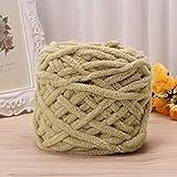 Deaum 100g/Knäuel Wolle, Handstrickgarn, Baumwolle, weich, super-dick, voluminös, gewebt, zum Häkeln, Baumwolle, kaki, 85G