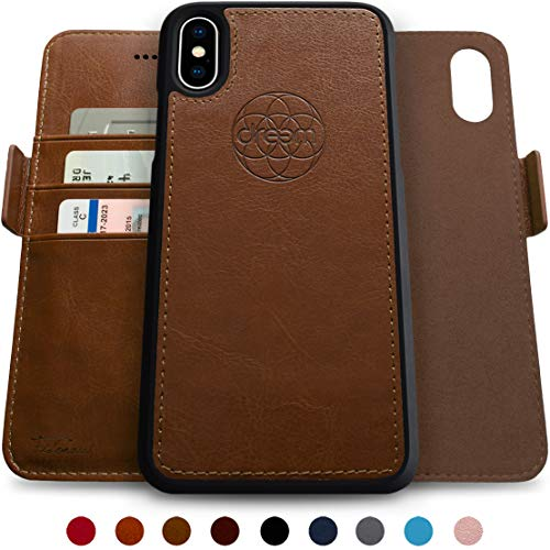 dreem Fibonacci 2-in-1 Wallet-Case for iPhone X & Xs, Magnetic Detachable Shock-Proof TPU Slim-Case, RFID Protection, 2-Way Stand, Luxury Vegan Leather, Gift-Box - Chocolate