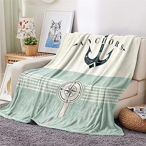 Mantas para Sofa Batamanta Mujer de Franela y Sherpa Manta Bebe Sofa Mantas con Estampados para la Cama y el Sofá 150x200 cm Ancla de Barco
