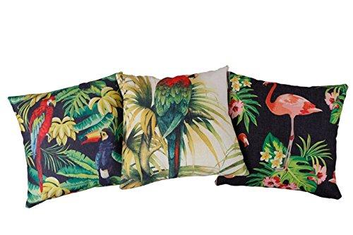 Interstil Interior 207004 3-delige set kussenslopen incl. kussen met vogel- en bloemendecoratie, 45 x 45 cm