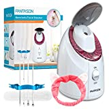 Facial Steamer-FANTASON Nano Ionic Face Steamer for Home Facial Warm Mist Humidifier Steamer for Face Sauna Spa Moisturizing Facial Pores Deep Cleaning, with Stainless Steel Skin Kit and Hair Band