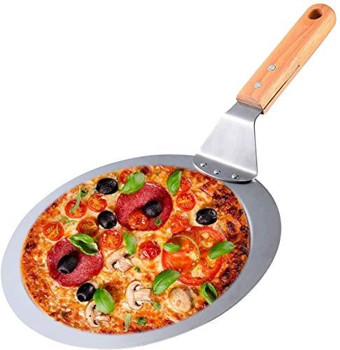 Pala de Pizza, Pala Redonda Para Pasteles Linxuan, Lerramientas Para Hornear, Mango de Madera de 10 Pulgadas, Pala de Metal, Espátula Para Hornear Pizza y Pasteles en el Horno y Parrilla