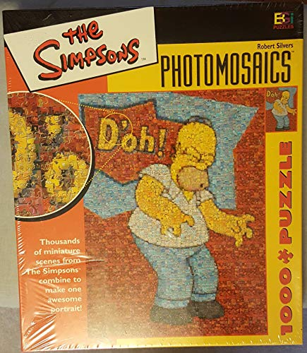 Wooden Jigsaw Puzzle, The Simpsons Photomosaics 1000 Piece Puzzle Homer D'Oh!, Gift for Halloween and Christmas, 20×30 Inch