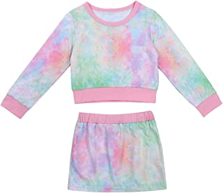 Toddler Baby Girl Summer Clothes Long Sleeve Colorful Rainbow Stripe Turtleneck Crop Top+Mini Hip Skirt 2PCS Dress Outfit Set