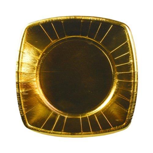 8 Einwegteller aus Pappe eckig 20 cm x 20 cm gold Pappteller