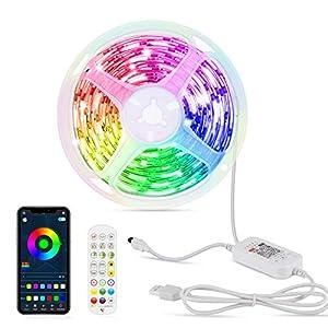 Luces LED 6M, OMERIL Tira LED 144 LEDs de 213 modos de Iluminación con Control Bluetooth APP y Mando, Tira LED USB de Función de Temporización y Sincronización con Música para la Habitación o Fiestas