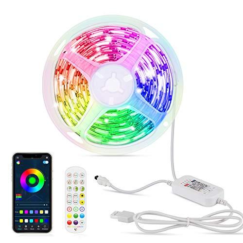 Luces LED 6M, OMERIL Tira LED 144 LEDs de 213 Modos de Iluminación con Control Bluetooth APP y Mando, Luces LED Habitacion de la Temporización y Sincronización con Música para la Habitación o Fiestas