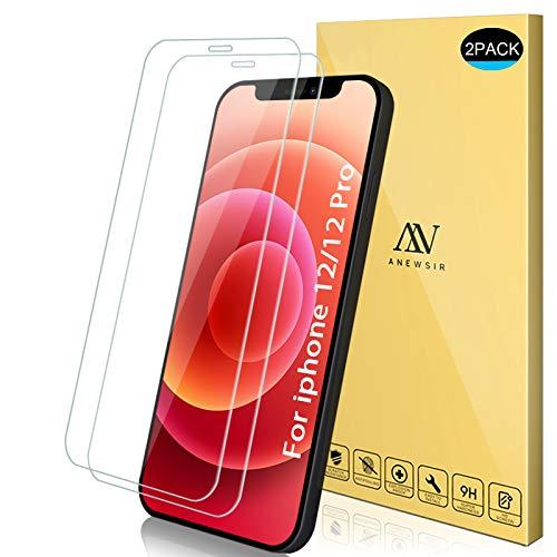 ANEWSIR Pellicola Protettiva Compatibile per iP 12 Pro/iPhone 12 (6.1'') Vetro Temperato, [2 Pezzi] Anti Graffo/Olio/Impronta, HD Chiaro Pellicola Vetro Temperato per iP 12/12 Pro