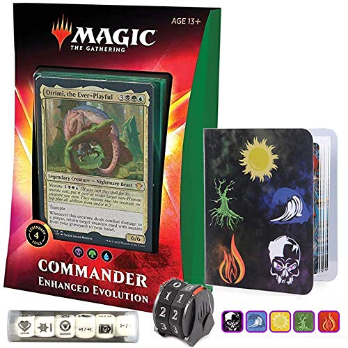 Totem World Ikoria Commander 2020 Deck Enhanced Evolution Bundle with 1 Life-Counter Spindowns, 1 Collectors Binders and 1 6pcs D6 Dice - MTG Lair of Behemoths Holiday Bundle Box Gift Set