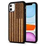 JuBeCo iPhone 11 Case Wood,Wooden+Soft TPU Bumper Slim Anti-Shock Cover for iPhone 11 6.1inch (Us Flag)