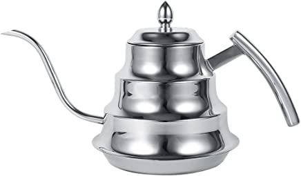 Preisvergleich für 1.2L Kaffeekanne/Teekanne Schwanenhals/Wasserkocher aus Edelstahl 304, für Cafe Bar/Haus und Küche Farben von Gold und Silber silber / schwarz