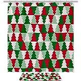 TIKISMILE - Juego de cortinas de ducha con diseño de árbol de Navidad, impermeable, tela de poliéster de 70,8 x 70,8 cm con alfombra antideslizante, cortinas de ducha con 12 ganchos para baño
