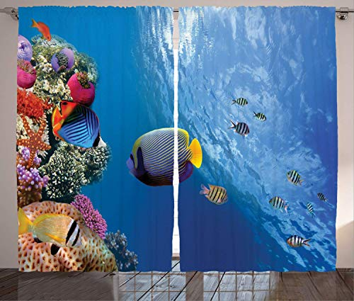 Farm House Decor Curtains, Tropical Emperor Long Living Angelfish in Underwater Exotic Marine Animal Image, Living Room Bedroom Window Drapes 2 Panel Set, Blue,Size:110