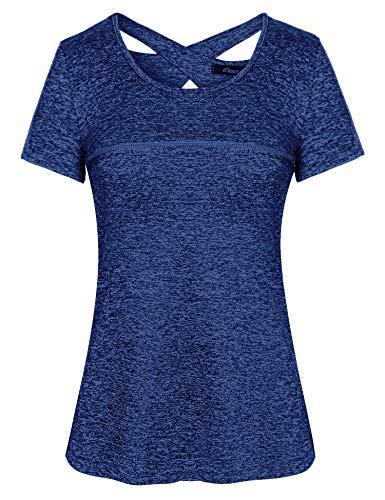 iClosam Camiseta de Manga Corta para Mujer Tops de Yoga Ropa Deportiva Correr Entrenamiento Camiseta Blusa túnica S-XXL (Azul Real 1, XL)