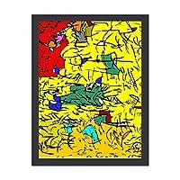 INOV 抽象芸術スケッチ ポスターフレーム アートポスター フレーム付き/額入り 絵画 絵 壁掛け リビング 玄関 インテリア 壁飾り プレゼント ギフト アートパネル アートフレーム