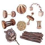 8 Stück Hamster Kauspielzeugen Kleine Haustiere kauen Spielzeug Natürliche Kiefernholz Kauspielzeug, Holz-Hanteln, Übungsglocke, Zahnpflege, Molar Spielzeug für Kaninchen, Vögel, Häschen