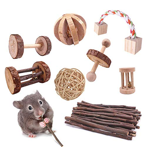 ACEONE Hamster Chew Toys, Guinea Pig Wooden Molar Toys for Chinchilla Gerbil Rat Bunny Rodent and Other Small Animals 8Pcs