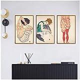TYLPK Quadri su Tela Ritratto Moderno Egon Schiele The Artists Wife Wall Art Poster Decorazioni per la casa Comodino Immagini Vintage 50x70cm (19,7x27,6 Pollici) x3 Senza Cornice